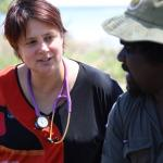 Dr Bo Remenyi, consults with Roderick Brown on how RHD is affecting his family in Maningrida, Arnhem Land in the Northern Territory