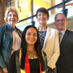 Sarah Louise Aiken pictured with (L-R at the back) Prof Elizabeth Sullivan, Amelda Keys and Glenn Keys of the Aspen Foundation